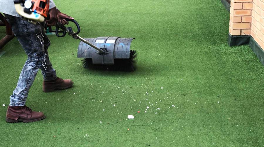 Maintenance Brushing On Artificial Grass